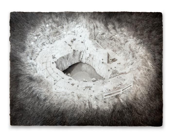 La herida, 2015. Rotulador sobre papel, 30 x 40 cm