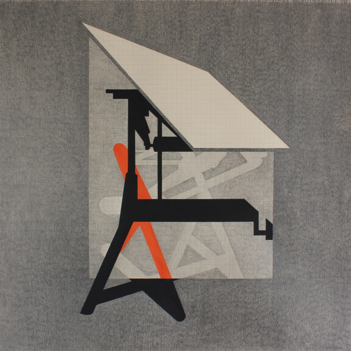 Irrepressible but antiquated (3), 2014. Lápiz y gouache sobre papel milimetrado, 73 x 73 cm