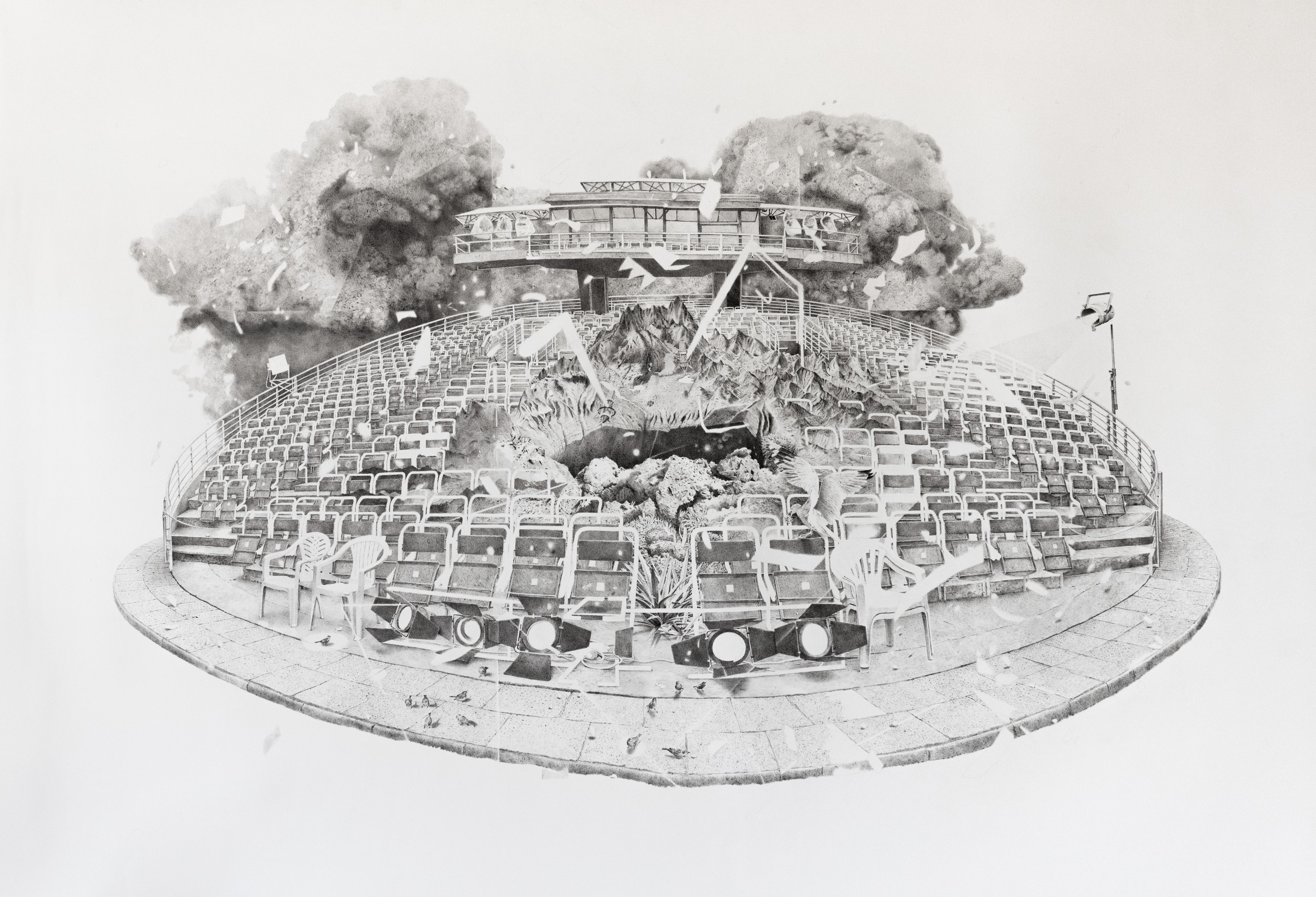 Reinventar el espectáculo, 2021 Tinta sobre papel 100 x 150 cm